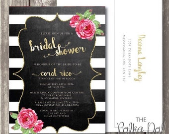 Print Your Own/ DIY Gold Foil and Chalkboard themed Bridal Shower Invitation / Party Invitation - Customizable