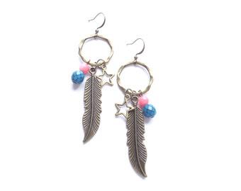 Boho Earrings, Bohemian Earrings, Dangle Earrings, Teal Earrings, Coral Pink Earrings, Boho Jewelry, Feather Earrings, Star Earrings