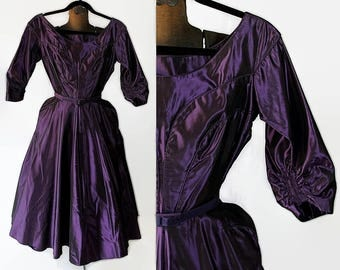 40s 50s Purple Satin Party Prom Cocktail Dress Mid Century Fashion Vintage Wedding