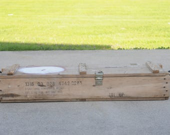 Vintage Wood Box Ammunition Crate Military Ammunition 2 - 90MM Cannon Cartridges