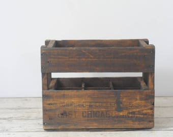 Antique East Chicago Ind. Beverage Crate Seltzer Bottle Delivery Crate Indiana