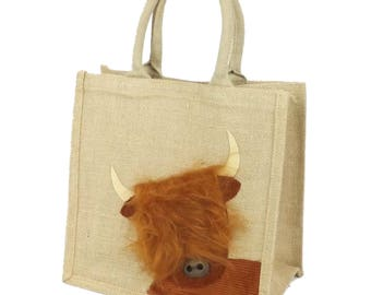 Peekaboo Highland Coo / Cow - Jute Hessian Burlap Medium Animal Shopping Bag