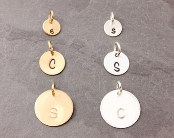 Add On Charms, add charms, disc, initial disc, initial disk, personalized disc, hand stamped, sterling silver disc, gold filled disc