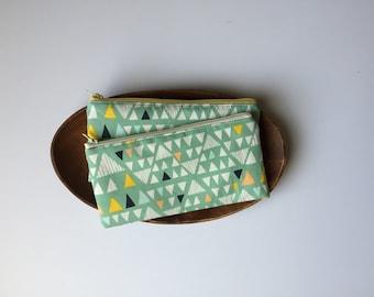 Mint Triangle Pencil Case, Cute Pencil Case, Back to School, zipper pouch, Geometric Pencil Pouch, Kids School Pouch