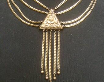 Opulent Gilt Metal Tassel Chain Neckalce c 1950s