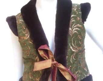 Exotic Broacde Faux Fur Trim Vest