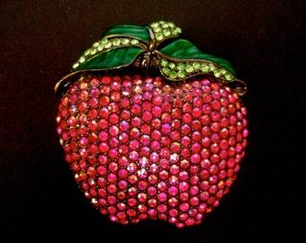 Huge Glittering Crystal Fruit Belt Buckle c 1980s