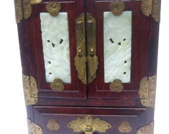 Exotic Asian Carved Stone Wood Jewelry Box