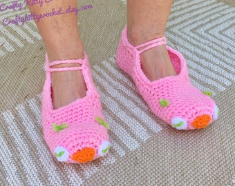 READY TO SHIP Pink Owl Slippers - Adult Women's / Teens - One Size Fits Most