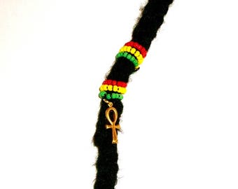 Dreadlock Jewelry - His and/or Her Rasta Gold Ankh Loc Jewel and Coordinated Slide