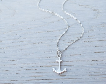 Silver Anchor Necklace - Sterling Silver