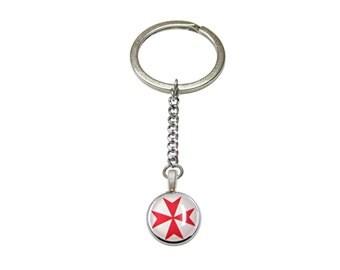 Red Maltese Cross Pendant Keychain