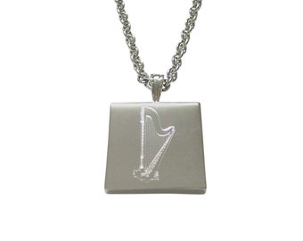 Silver Toned Etched Harp Musical Instrument Pendant Necklace
