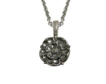 Silver Toned Tudor Rose Pendant Necklace