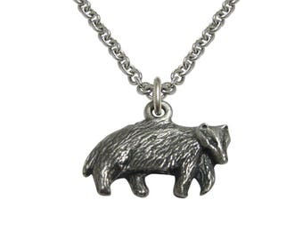 Textured Badger Pendant Necklace