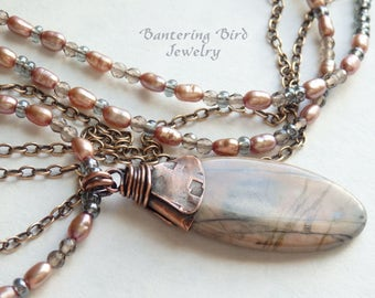 Long Pink and Grey Beaded Necklace with Dusty Rose Freshwater Pearls, Smoky Quartz and Natural Stone Oval Jasper Pendant in Hammered Copper