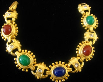 """Egyptian Revival Cabochon Bracelet with Alternating Clear Rhinestone Connector Links.  Brilliant Matte Gold Finish.  7-1/8"""" Clasped Length"""
