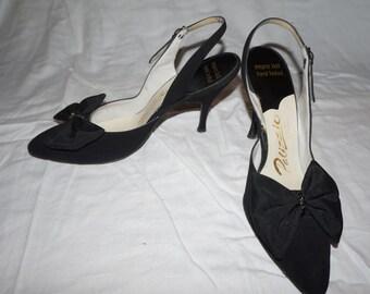 Women's Palizio Black Suede Sling Shoes [Vintage 1950s]