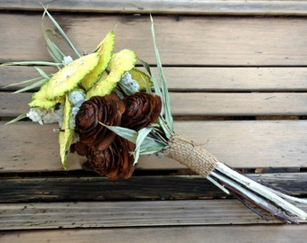 Dried Wedding or Decoration Bouquet - Apple Martini - Osage, Apple, Bamboo & Lamb's Ear