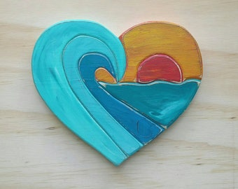Wooden Sunset Wave Heart Sign, Beachy Home Decor, Ready to Ship