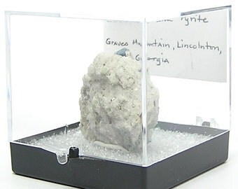 Lazulite Blue Crystal in Sericite Mica Rock Schist Matrix Geological Georgia Mineral Specimen in Acrylic Museum Box