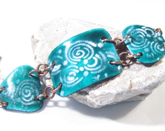 Enamel bracelet teal and white torched artisan