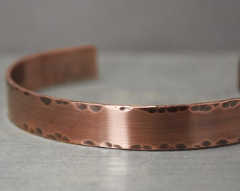 Men's Copper Cuff, 3/8 Inch Cuff, Men's Distressed Cuff, Distressed Copper Cuff, Cuff For Guy, Gift For Him, Gift For Dad, Hand Stamped Cuff
