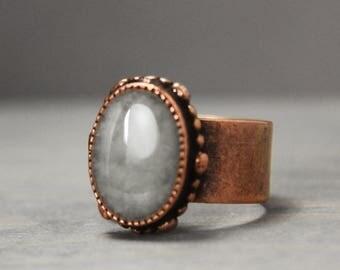 Copper Selenite Ring, Copper Ring, Statement Ring, Grounding Ring, Adjustable Ring,Meditation Jewelry, Crystal Jewelry, Selenite Jewelry