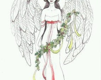 Holly angel. Christmas greetings postcard. Romantic fairytale illustration Christmas spirit winter love Holidays