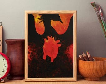 Phoenix Heart - Acrylic Print - Fine Art Print - Unique Original Art