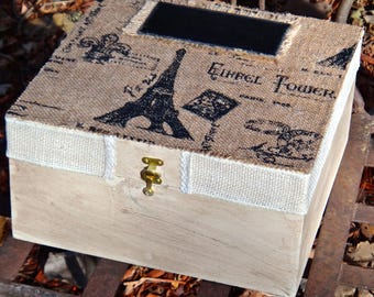 Tea Box, Bride, Decoupage Box, Marriage, French Country, Paris, Eiffel Tower, Burlap Fabric Box, Cubby Box, Wedding Card Box, Bridal Shower