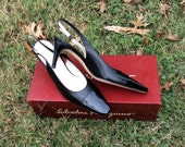 Vintage Salvatore Ferragamo Black Nero Calf Patent Leather Slingbacks Heels Toe New in Box Low Heel Business Professional Made in Italy