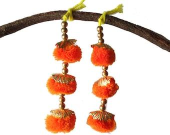 Orange Camel Decoration Boho Tassel 1 Pair - Orange and Gold Bohemian Tassel / Embellishment / Decoration / Women Dress Tassels