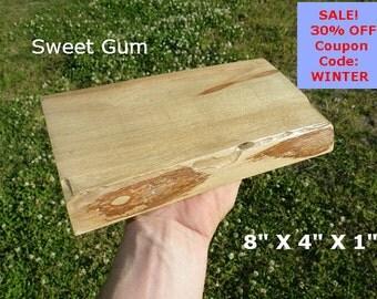 Live Edge Sweet Gum Wood Slab Finished DIY Floating Shelf, Natural Edge Shelving, Photo Ledge, Corner Shelf, Table Trivet, Trophy Shelf 0111