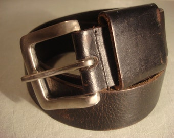 Vintage 1990s Boho Black Distressed Smooth Leather Belt With Large Silver Buckle Unisex