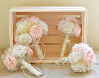 Wedding Bouquets Blush and Gold Bride Bridesmaid Bouquets Bridal set Shabby Chic Rustic Romance Peony Flowers Wedding Party Pink