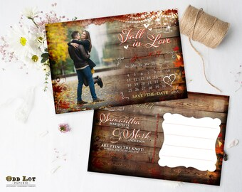 Fall Save the Date Postcard Calendar, Fall Leaves, Hanging Lights with Mason Jar, Printable Save the Date Postcards, Rustic Save the Date