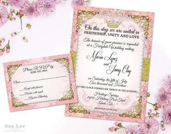 Romantic Fairytale Wedding Invitation Suite Royal Wedding Invitation Pink and Gold Princess Wedding Ornate Wedding Fairy Tale Invitation DIY  A beautiful Blush