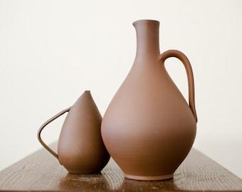 Vintage Keramik Handgetopfert Brockmann Pottery Vases Vase Fat Lava Pitchers Studio Pottery Set of 2 - W. Germany