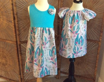 SiSTER SET ....girls tank style dress with coordinating flutter sleeve dress in Pretty Potent by Anna Maria Horner...sizes 6 months -8 years