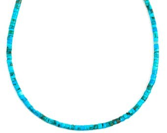Turquoise Necklace Sterling Silver or 14k gold filled Rich Blue Heishi smooth shape solid strand 18 19 Inches simple everyday heshi style