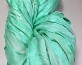 Recycled Sari Silk Ribbon Aquamarine Jewelry Sari Wrap Bracelet Fair Trade Felt Knit Crochet Scrapbook Weave  Fiber Art Supply