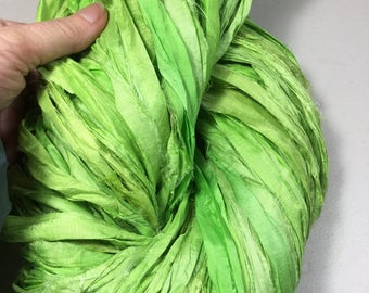 Recycled Sari Silk Ribbon Lime Green Tassel Dreamcatcher Jewelry Fair Trade Eco Gift Wrap Knit Crochet Scrapbook Weave  Fiber Art Supply