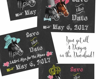 Kentucky Derby Invitation Save the Date Digital Files Instant Download Postcards also available