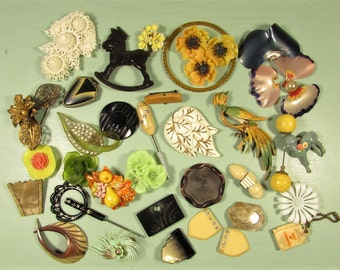 Plastic Harvest Repair Craft Jewelry Lot - Vintage 35 Pieces