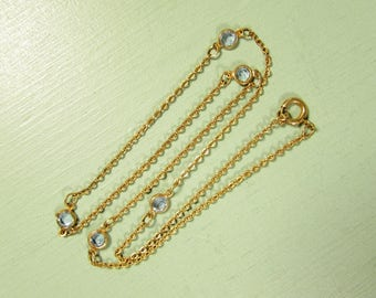Blue Bezel Set Necklace - Vintage Gold Tone Brass Crystal Choker