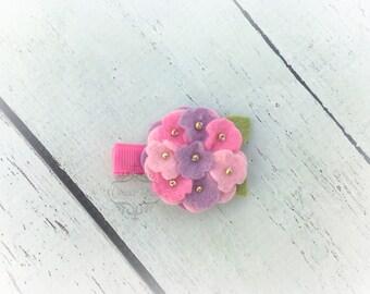 Flower clip Hydrangea hair clip cutie Soft Bright Clip  Pick one or two.