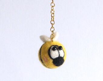 Needle Felted Bee Hanging Ornament , Bee Handbag charm, felted bee, wool bee