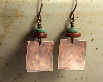 Hammered Copper Square Earrings with Turquoise and Jasper, Southwestern Earrings, Hammered Copper Earrings, Hammered Earrings, Aged Copper