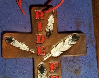 Custom leather saddle cross